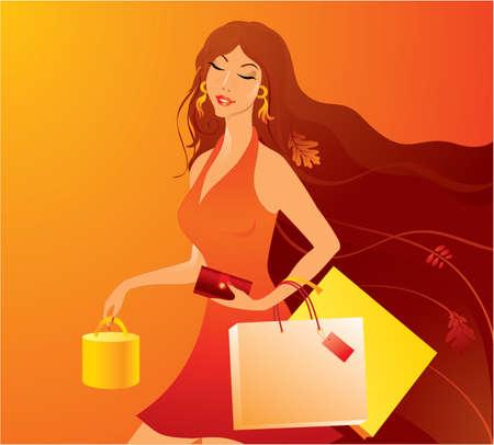 mujeres dinero: Belleza chica de compras con las compras Vectores