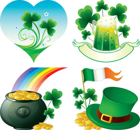 Saint Patrick day icons with shamrock, hat, beer and pot full of gold Vector