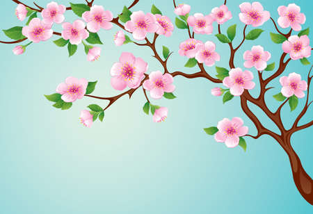 Spring tree with pink blossoms on the blue sky background