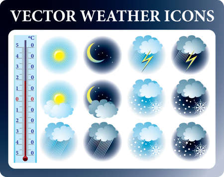 internet buttons: Set of weather icons and thermometer  Illustration