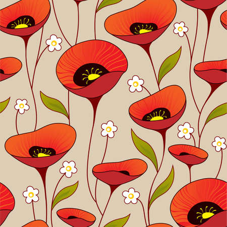Vintage seamless background with poppy Vector