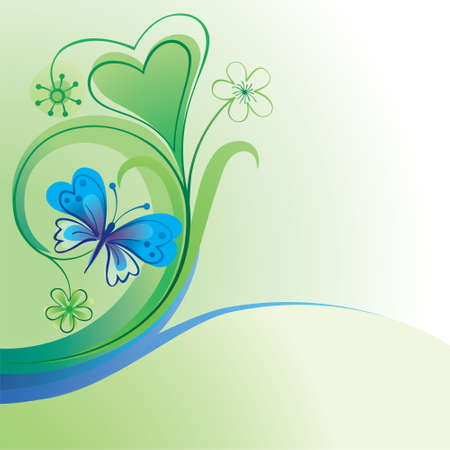 Nature decorative background with butterfly and flowers  Illustration