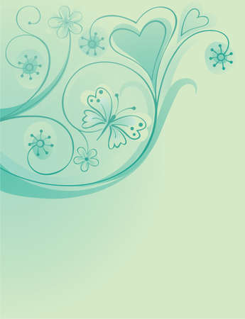 Decorative ornate background with flowers and butterfly
