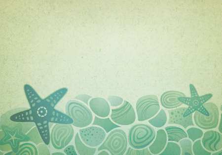 fondali marini: Vintage background con stelle marine mare e ciottoli