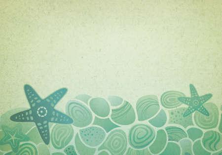 Vintage background con stelle marine mare e ciottoli