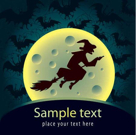bruja: Tarjeta de Halloween con la bruja