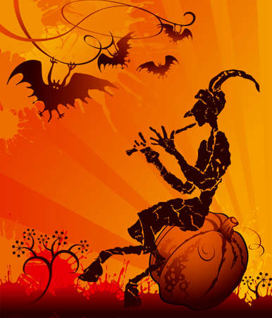 Halloween card with evil Vector