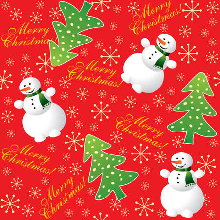 Christmas seamless winter background with snowman Vector