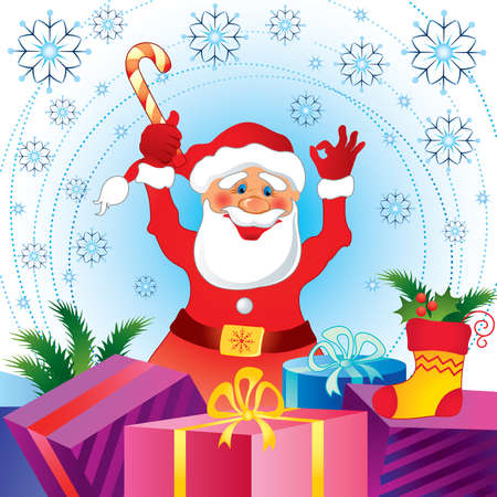 Christmas card with Santa Claus and gifts Vector