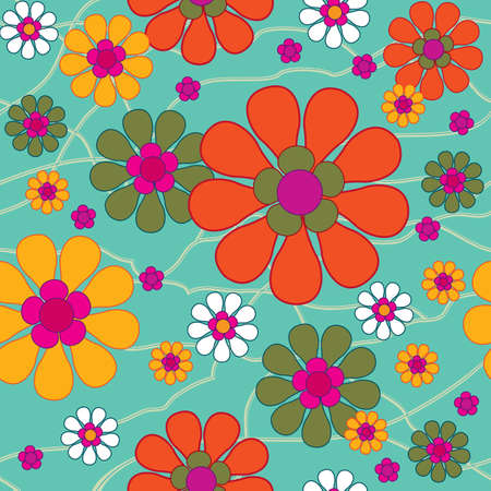 hippies: Seamless vintage background with decorative flowers  Illustration