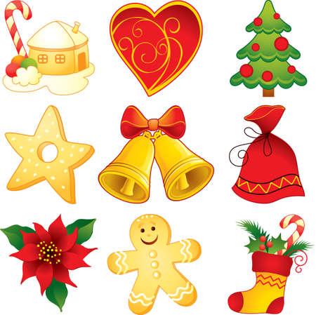 adornos navideños: Navidad símbolos Vectores