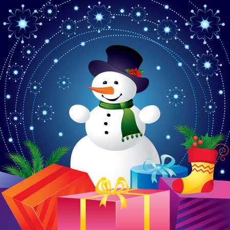 boule de neige: Carte de No�l avec bonhomme de neige et cadeaux Illustration