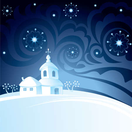 Decorative background with church Stock Vector - 15091524