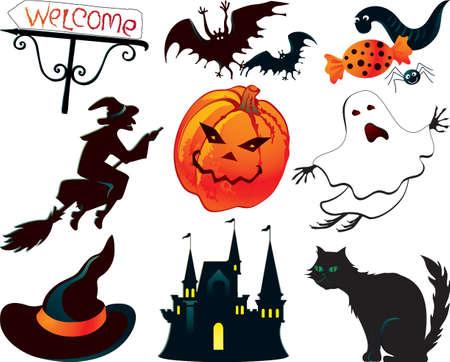 brujas caricatura: Resumen símbolos de Halloween Vectores