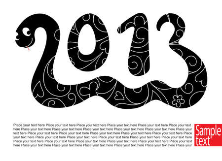 Decorative card with Snake the symbol 2013 year  Illustration