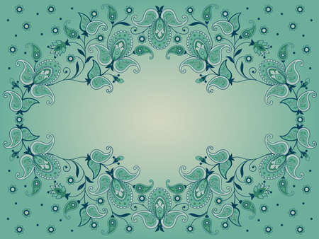 persian green: Decorative background with flowers and paisley