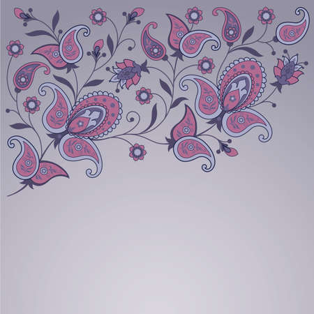 Decorative background with flowers and paisley  Illustration