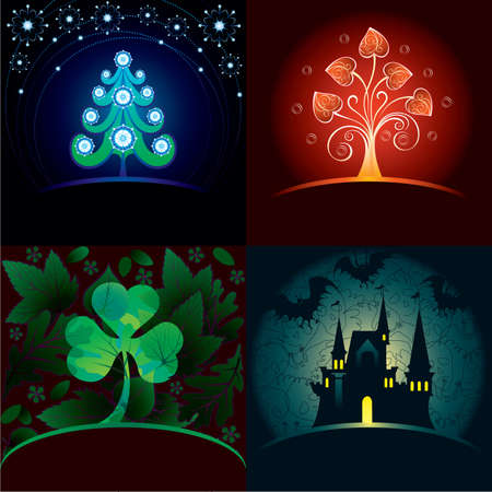 Set of decorative holidays cards Vector