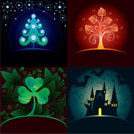 horror castle: Set of decorative holidays cards Illustration