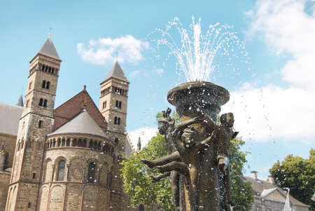 Fountain at the Vrijthof square near Basilica of Saint Servatius, in Maastricht, Holland - Netherland