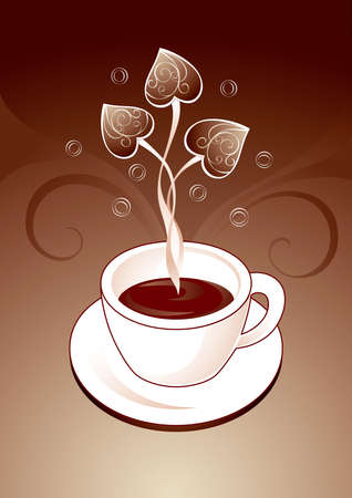 Cup of aromatic coffee with decorative love hearts Vector