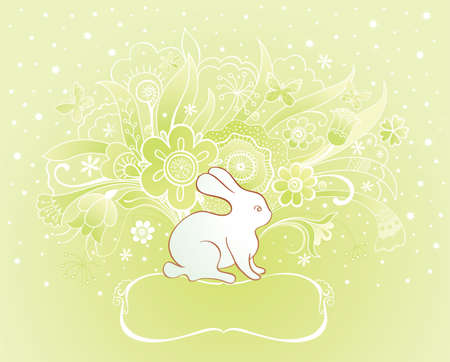 Easter spring card with rabbit and flowers Vector