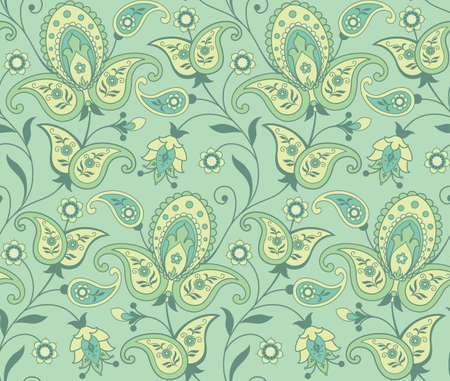 Paisley floral seamless background Illustration