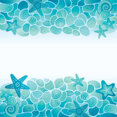 etoile de mer: Carte-de-chaussée de la mer bleu avec des pierres, étoiles de mer et coquillages