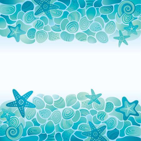 estrella de mar: Tarjeta fondo del mar azul con piedras de mar, estrellas de mar y conchas marinas