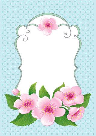 Vintage floral frame with blooming flowers