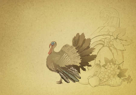 Vintage decorative Thanksgiving background with turkey and cornucopia  photo