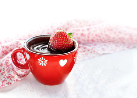 chocolate covered strawberries: Fresa en chocolate caliente con fresas para el D�a de San Valent�n