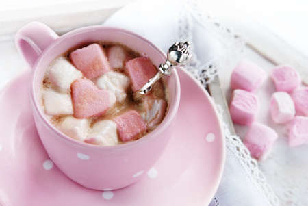 valentine day cup of coffee: Cup of hot coffee with marshmallows, tasty dessert for St,Valentine day