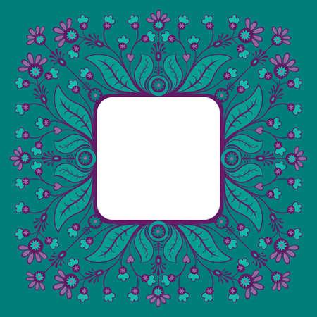 elegante: Elegante Belle carte de voeux avec cadre décoratif floral, avec place pour le texte