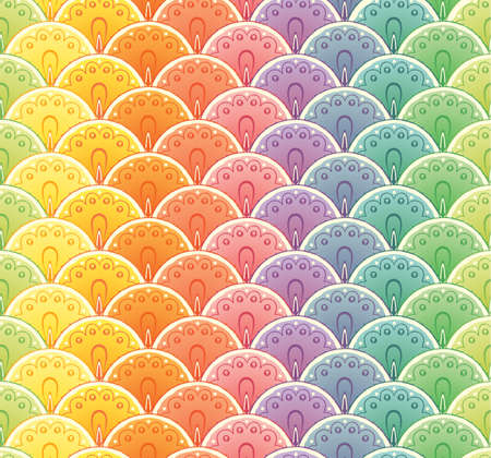 Decoprative fan rainbow seamless pattern