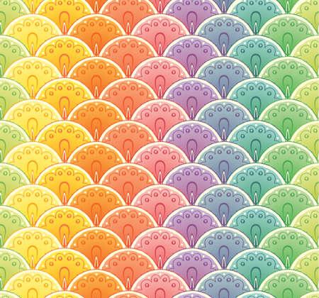 Decoprative fan rainbow seamless pattern