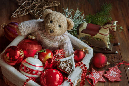 bear berry: Christmas decor balls with bear toy, wooden horse in the box