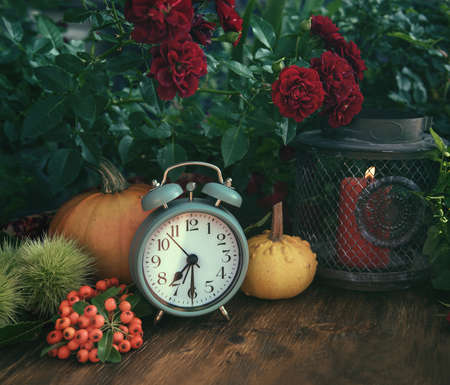 Autumn flowers from the garden, thanksgiving decor with alarm clock and pumpkins Archivio Fotografico - 111740933