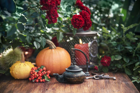 Autumn flowers from the garden, thanksgiving decor with candles and pumpkins