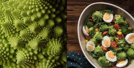 Salad Romanesco cauliflower buds closeup, in bowl on wood background. Tasty salad with romanesco, quail eggs, corn grain mais, carrot, rucola Archivio Fotografico - 125805625