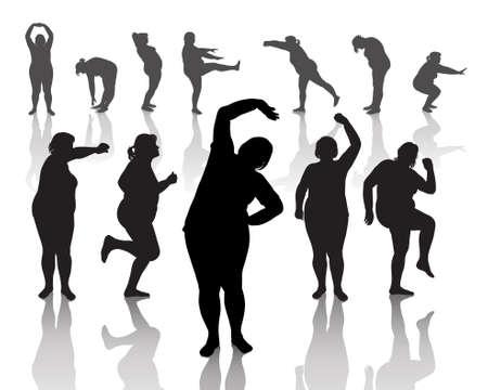 obesidad: 12 figuras de mujeres gruesas haciendo ejercicios por la ma�ana Vectores