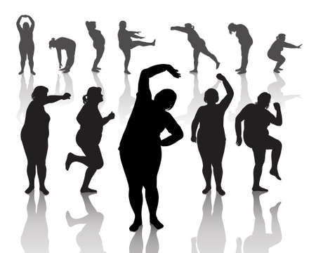 woman run: 12 figures of thick women doing morning exercises  Illustration
