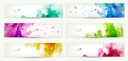 header label: set of six banners, abstract headers with varicolored blots