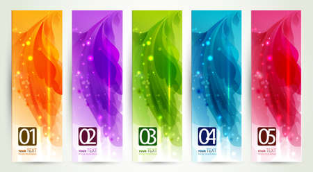 set of five  banners, abstract  headers  Illustration