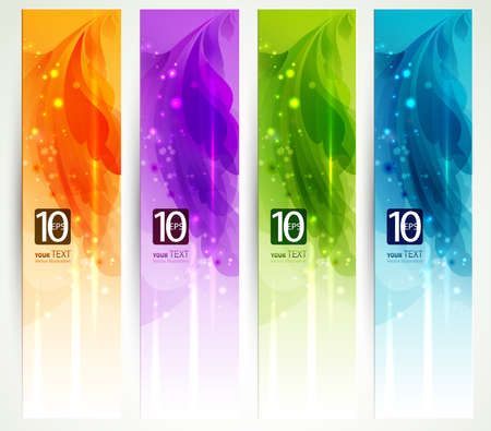 set of four banners, abstract headers  Illustration