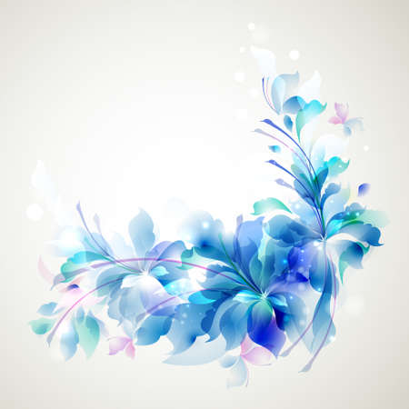 Tender background with three abstract flower and small butterflies  Illustration
