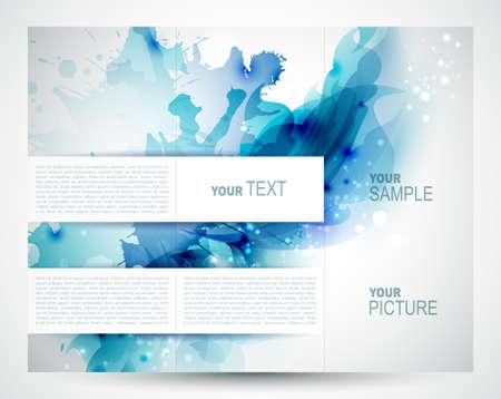 folleto: Folleto del fondo con los elementos abstractos azules