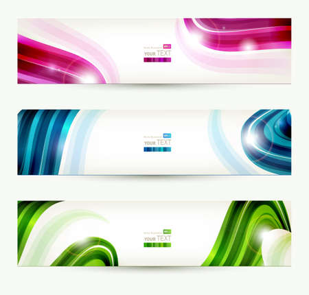 abstract waves: set of four banners, abstract headers  Illustration
