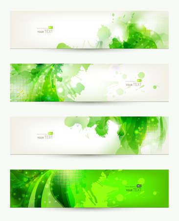 web header: un conjunto de cuatro banderas, encabezados abstractos con borrones verdes Vectores