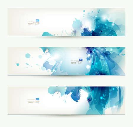 header: set di tre banner, intestazioni astratti con macchie blu Vettoriali